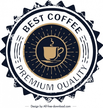 coffee label template retro serrated circle design