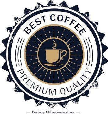 coffee label template retro serrated circle design