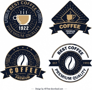 coffee label templates elegant retro dark design