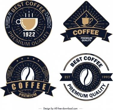 coffee label templates elegant retro dark design