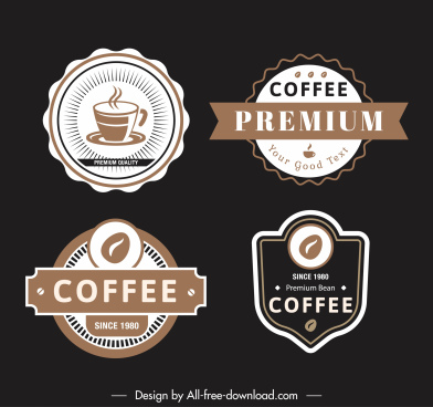 coffee labels templates elegant classic shapes