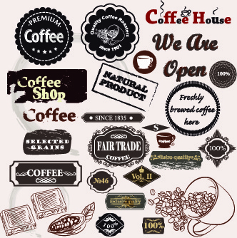 coffee labels with ornaments vector