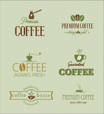 coffee logo collection classical design texts decoration
