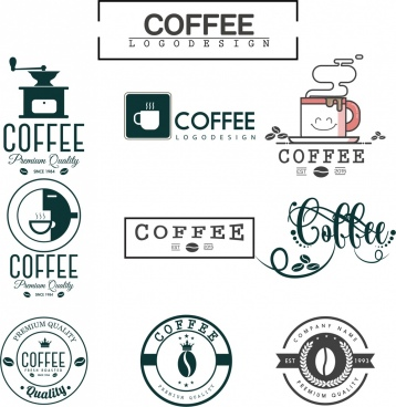 coffee logo sets flat design various shapes isolation