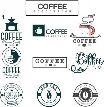 coffee logo sets flat design various shapes isolation