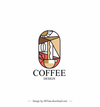 coffee logo template bean cup sketch geometric design
