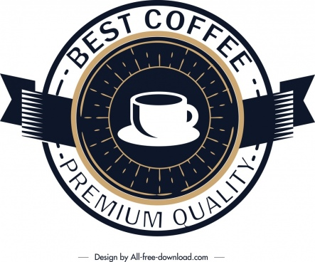 coffee logo template classical circle design ribbon ornament