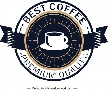 coffee logo template classical circle design ribbon ornament