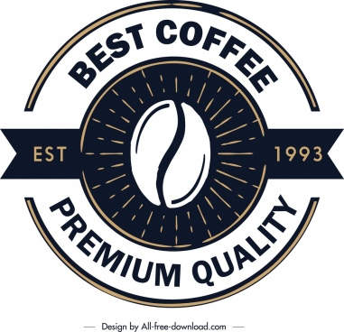 coffee logo template classical flat circle decor