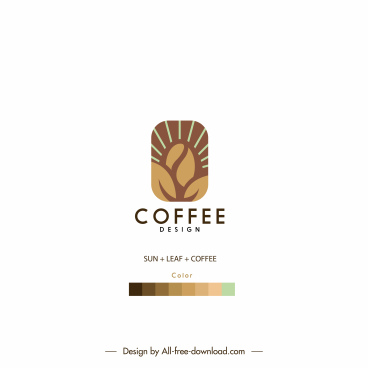 coffee logo template flat bean sketch