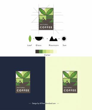coffee logo template flat elements layout