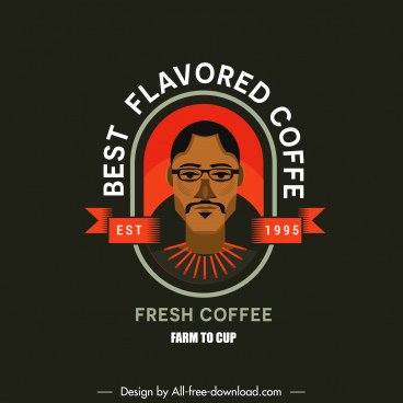 coffee logo template man portrait decor flat classic