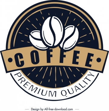coffee logo template retro circle design