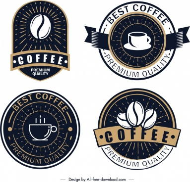 coffee logo templates classical dark design