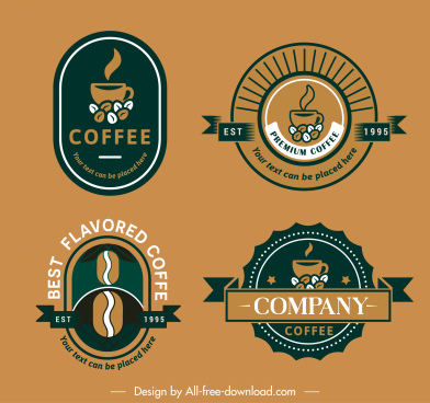coffee logo templates flat elegant classical decor
