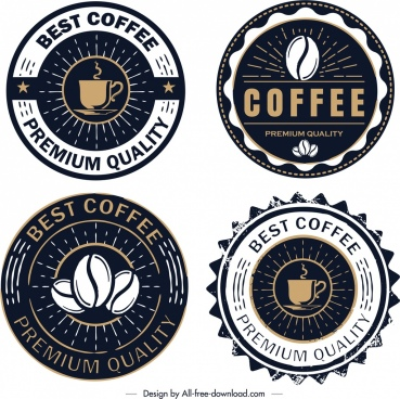 coffee logo templates retro circle dark design