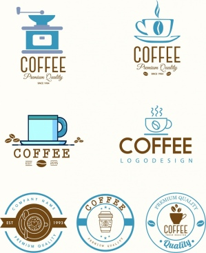 coffee logotypes colored flat decor