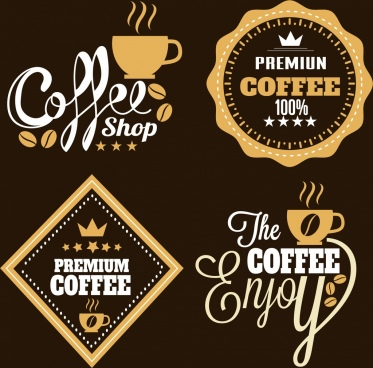 coffee logotypes labels sets flat brown white design
