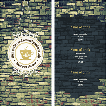 coffee menu cover and list vector