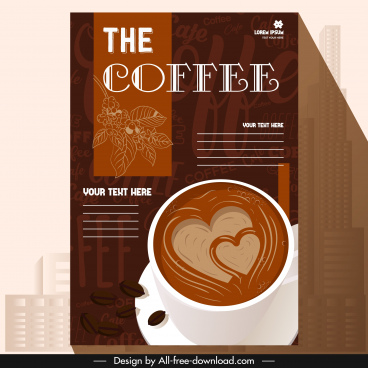 coffee menu cover template decorated cup blurred texts
