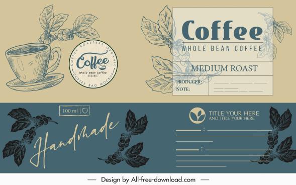 coffee menu cover template elegant classical handdrawn decor