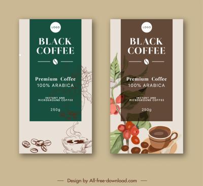 coffee menu cover template elegant retro decor