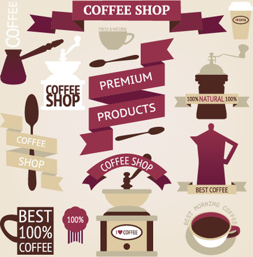 coffee menu labels and ribbon banner vector
