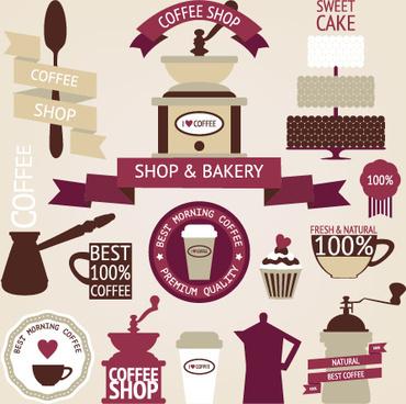 coffee menu labels and ribbon banner vector