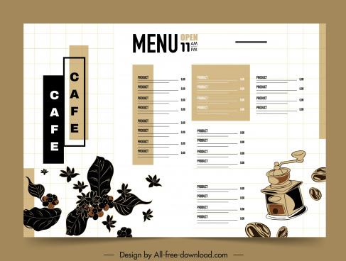 coffee menu template bright design beans leaves sketch