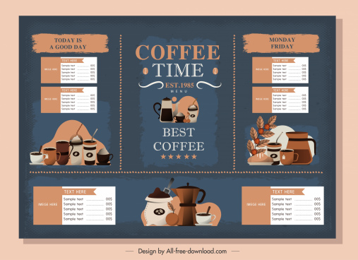 coffee menu template elegant dark classic decor