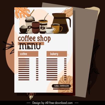 coffee menu template elegant flat brown decor