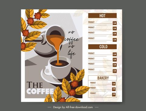 coffee menu template elegant leaves cup decor