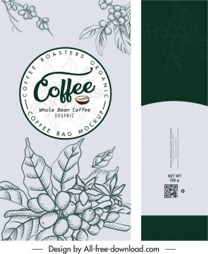 coffee packing template classical handdrawn decor
