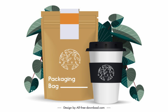 coffee packing template shiny modern elegant design