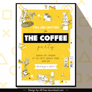coffee party flyer retro handdrawn sketch