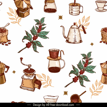 coffee pattern template elegant retro design repeating symbols