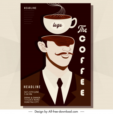 coffee poster template cup man icons dark classic
