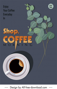 coffee poster template elegant retro cup leaves decor