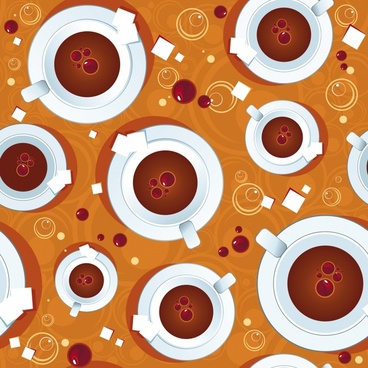 coffee background cup icons colored repeating decor