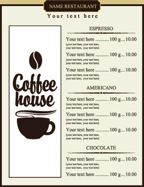 coffee price list menu vector