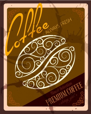 coffee promotion banner bean sketch brown grungy decoration