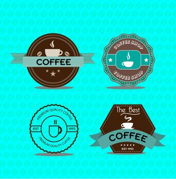 coffee promotion label sets classical design style