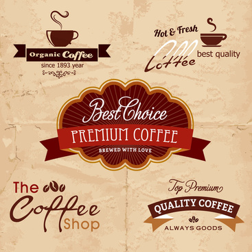 coffee promotion label sets with various design style