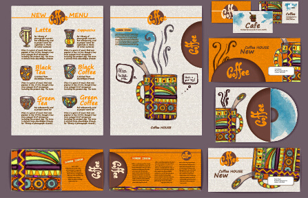 coffee retro business template kit vector