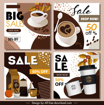 coffee sale banners elegant colorful decor