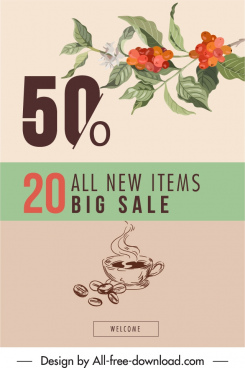 coffee sale poster classical plants decor