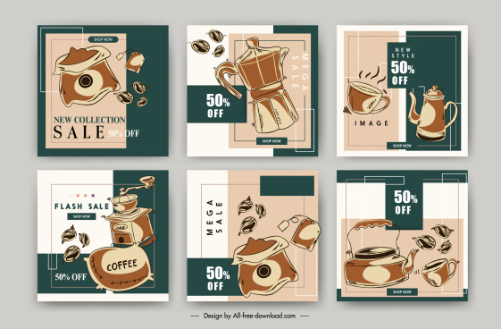 coffee sale poster templates retro handdrawn symbols sketch