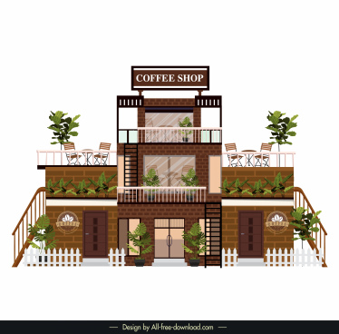 coffee shop architecture template modern brick wall decor