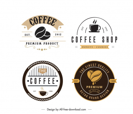 coffee shop logo templates dark bright flat decor
