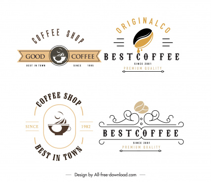 coffee shop logo templates flat sketch elegant classic